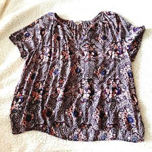 Lucky brand floral purple pink sz XL blouse